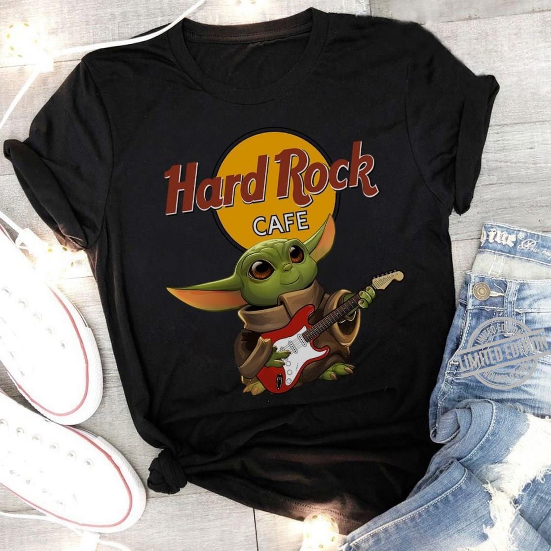 Baby Yoda Play Hard Rock Cafe Shirt