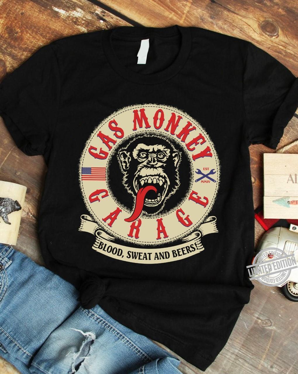 Gá Monkey Garage Blood Sweat And Beers Shirt